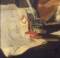 Detail of Verkolje's portrait of Leeuwenhoek. Click for the full portrait.